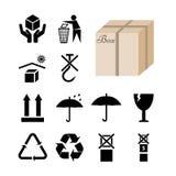 在包裹和箱子描述的12个标志的汇集 免版税库存照片