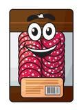 在包裹的动画片肉切好的香肠 免版税库存图片