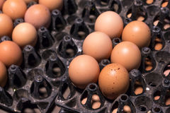 在包裹的新鲜的蛋食品成分在桌上 库存图片