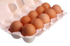 在包裹的鸡蛋在与裁减路线的白色背景 免版税库存照片
