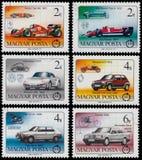 在匈牙利打印的套邮票显示汽车 库存图片