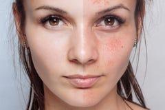 在化妆操作前后 室外纵向俏丽的妇女年轻人 免版税库存照片