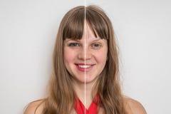 在化妆构成前后的妇女面孔 库存照片