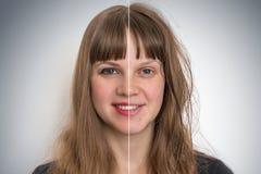 在化妆构成前后的妇女面孔 免版税库存照片