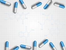 在化学惯例的医学作为背景代表医疗和医疗保健概念 背景二进制代码地球电话行星技术 皇族释放例证