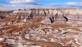 在化石森林国家公园,亚利桑那美国的蓝色Mesa 库存照片