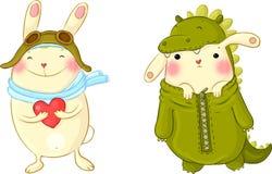 在化装舞会服装的逗人喜爱的兔宝宝 库存图片
