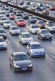 在北京第四条环行路,北京,中国的交通堵塞 免版税库存照片