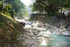 在北投的热水小河 免版税库存图片