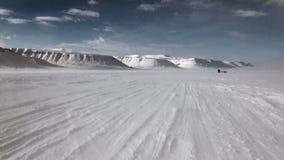 在北极狗雪撬队多壳的爱斯基摩路的人远征在北极 影视素材