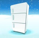 在北极风景里面的冰箱 免版税库存照片