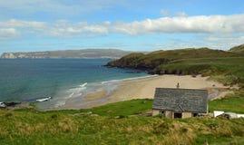 在北海岸500,苏格兰英国欧洲的萨瑟兰海滩 免版税库存图片