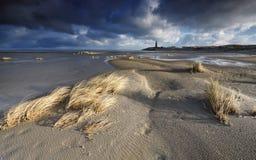 在北海海岸的晴朗的大风天 图库摄影