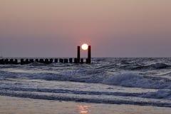 在北海海滩的日落 库存图片