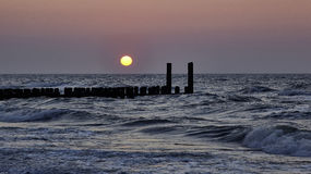 在北海海滩的日落 免版税库存照片
