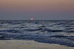 在北海海滩的日落 免版税图库摄影