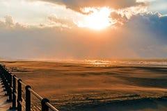 在北海的日落在10月 库存图片