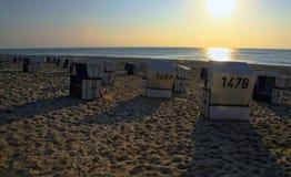 在北海的日落 免版税库存照片