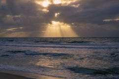 在北海的日落 库存图片