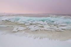 在北海的陆架冰在冬天 免版税库存图片