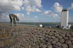 在北海的Afsluitdijk荷兰水坝 库存图片