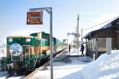 在北海道, 2013年2月, 1日,一雪天的日本训练 免版税库存图片