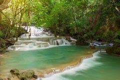 在北碧使槐Mae Kamin瀑布Srinakarin水坝环境美化 图库摄影