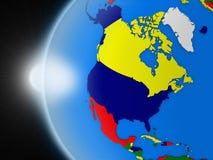 在北美洲大陆的日落从空间 库存例证