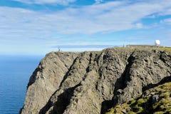 在北角峭壁的NORDKAPP,挪威A视图和地球Monu 图库摄影