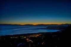 在北部太浩湖的日落 库存图片