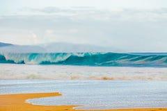 在北部岸的美丽的夏威夷波浪 图库摄影