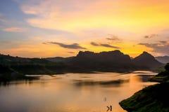 在北部泰国的日落 库存图片