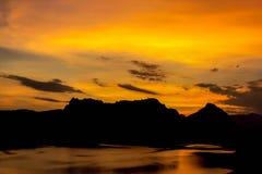 在北部泰国的日落 图库摄影