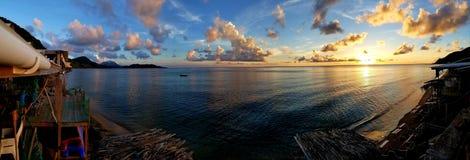 在北部男修道士的海湾的日落 库存照片