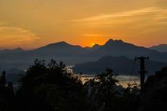 在北部老挝的日落 免版税库存图片