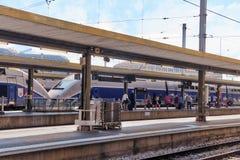 在北部铁路的高速火车 巴黎 免版税库存图片