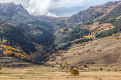 在北高加索山的秋天风景  免版税库存照片