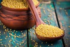 在匙子和一个陶瓷碗特写镜头的有机小米种子 免版税库存图片