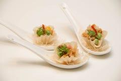 在匙子提出的油煎的泰国开胃菜 库存照片