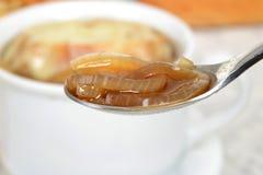 在匙子浅DOF的宏观葱汤 免版税库存照片