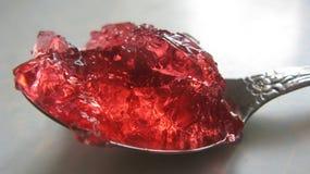 在匙子的红色果冻 免版税图库摄影