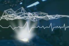在医疗医学概念,与现代屏幕真正接口的象医疗网络连接的技术网络与导线mes 免版税库存照片