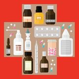 在医疗十字架的不同的药物在红色背景 免版税库存照片