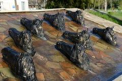 """在医院â """"的正方形的雕刻的小组` Donchak横穿` – 1 Volgodonsk 库存照片"""