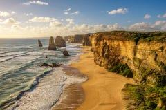 在十二使徒岩的日落在维多利亚,澳大利亚 库存照片