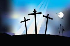 在十字架上钉死晚上场面 免版税库存照片
