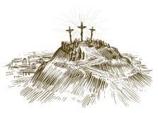 在十字架上钉死耶稣基督,圣子 剪影传染媒介例证 免版税库存照片