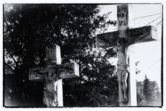 在十字架上钉死 从一座老公墓的一个细节 被处理的过帐 免版税图库摄影
