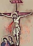 在十字架上钉死耶稣基督当代艺术 水彩 库存图片