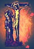 在十字架上钉死耶稣基督当代艺术 库存照片